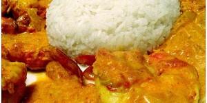 Gambas au curry creme de coco