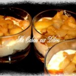 Verrine pomme poire caramélisée avec une mousse chantilly et caramel beurre salé
