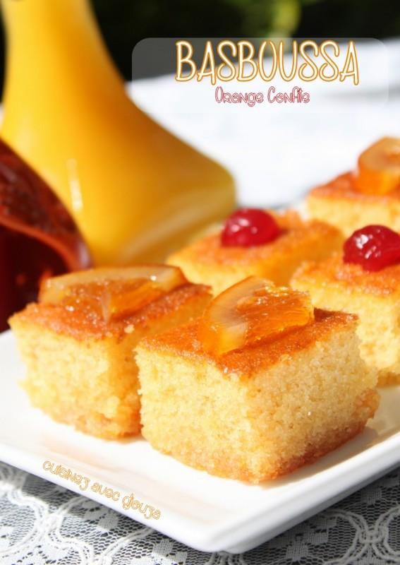 Basboussa gateau de semoule orange confite recettes for Amour de cuisine basboussa