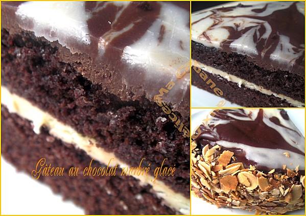 Gâteau chocolat marbré glacé montage 1
