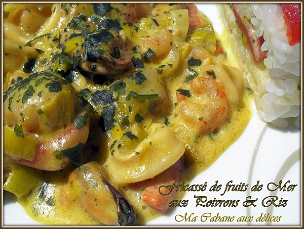 Fricasse de fruits de mer et poivrons photo 1