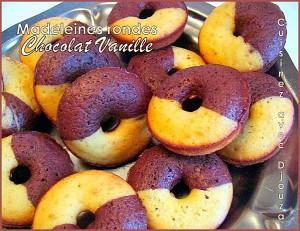 Madeleines rondes chocolat vanille