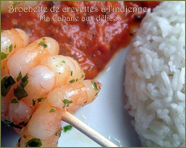 Brochette crevette sauce indienne photo 2