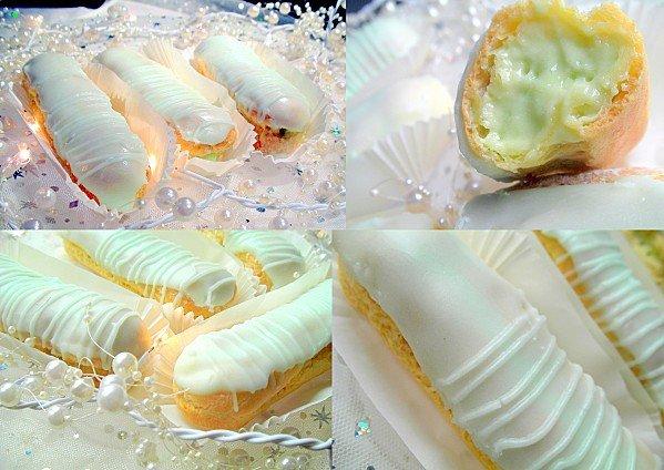 Eclairs gourmands à la pistache