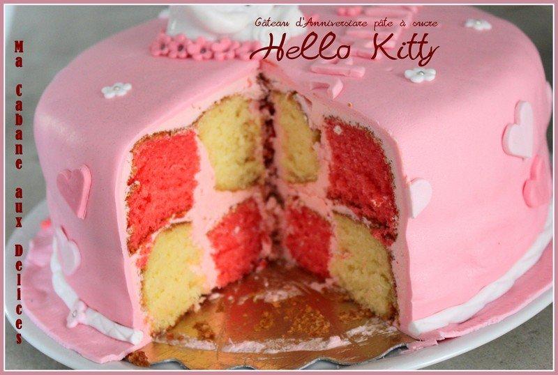 Decoration Gateau Anniversaire Hello Kitty : Gateau d anniversaire hello kitty pate a sucre la