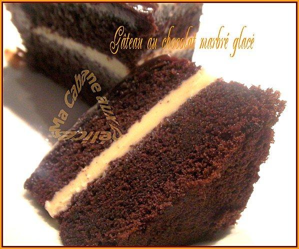 gateau chocolat et glaçage marbré