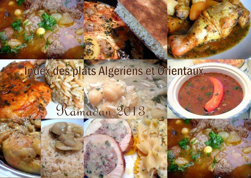 Index plats algeriens et orientaux