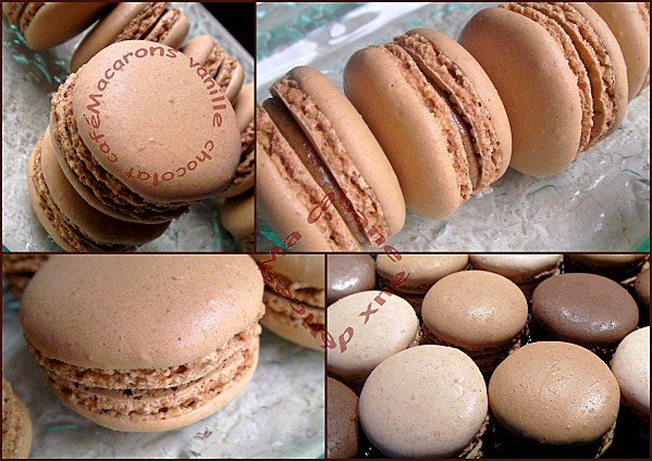 Macarons vanille chocolat café montage