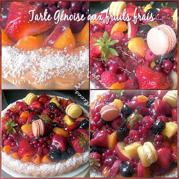 Tarte génoise aux fruits frais montage 1