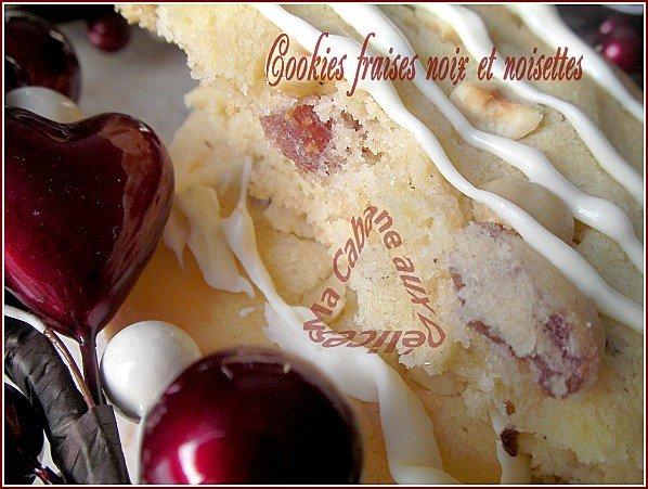 Cookie fraise noix noisettes fondants et croustillants