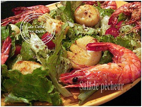 Salade du pecheur gambas et noix de saint jacques