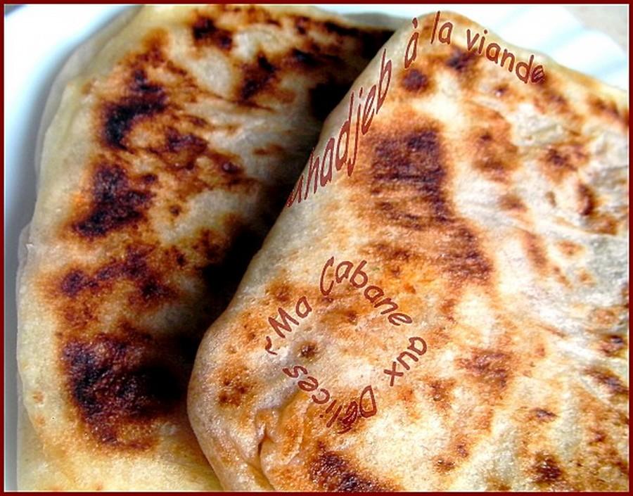 Mhajeb algérien, mahjouba farci a la viande