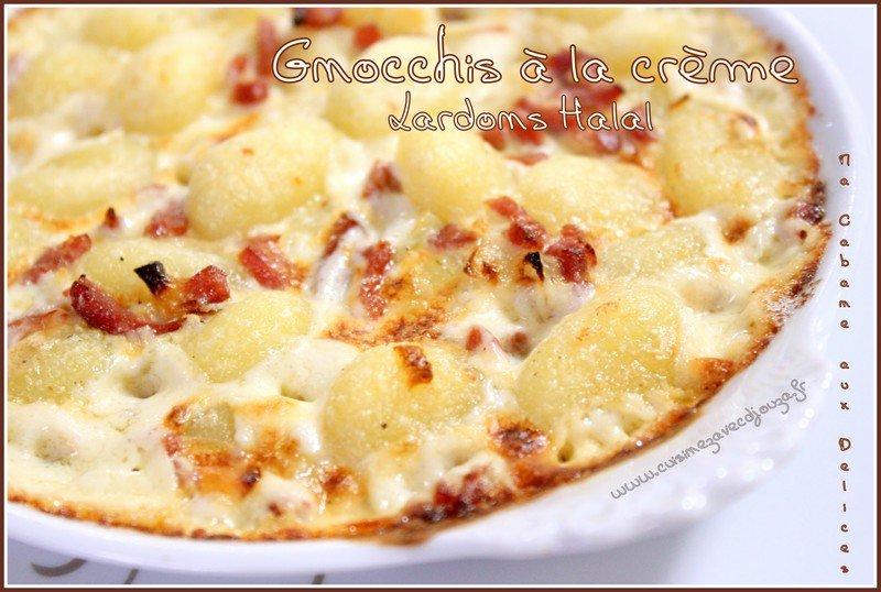 Gnocchis crème et lardons halal