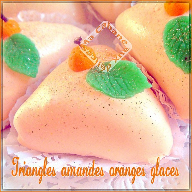 Gateau triangle amande orange glace