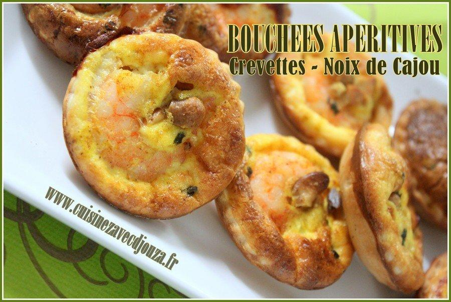 Bouchees aperities crevettes noix de cajou