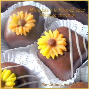 Mkhabez noix de coco, un gâteau algérien fondant au glaçage royal au chocolat qui fond en bouche.