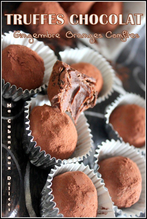 Truffes chocolat gingembre orange confite