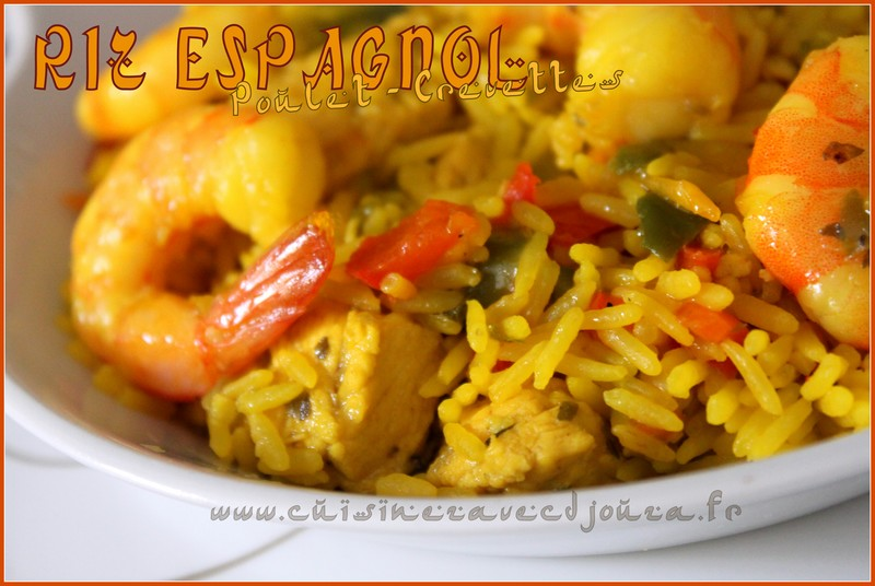 Riz espagnol poulet crevettes