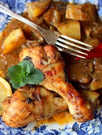 Poulet en sac cuisson au four avec pommes de terre