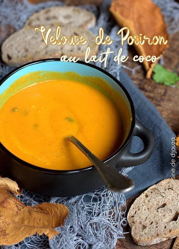 Soupe veloutée de potimarron au lait de coco