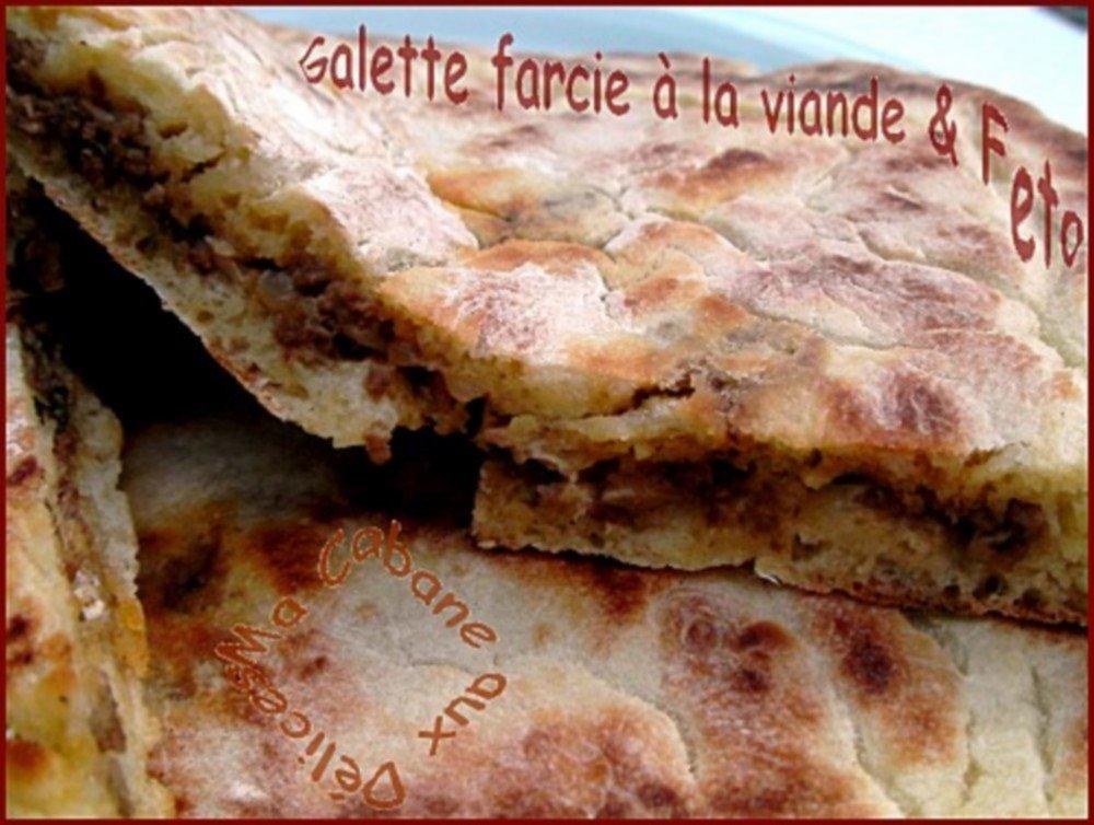 Galette ou pain farci a la viande et feta
