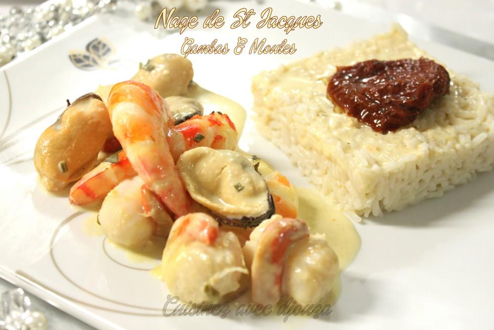 Nage de noix de st jacques moules et gambas recettes - Cuisine noix de saint jacques ...