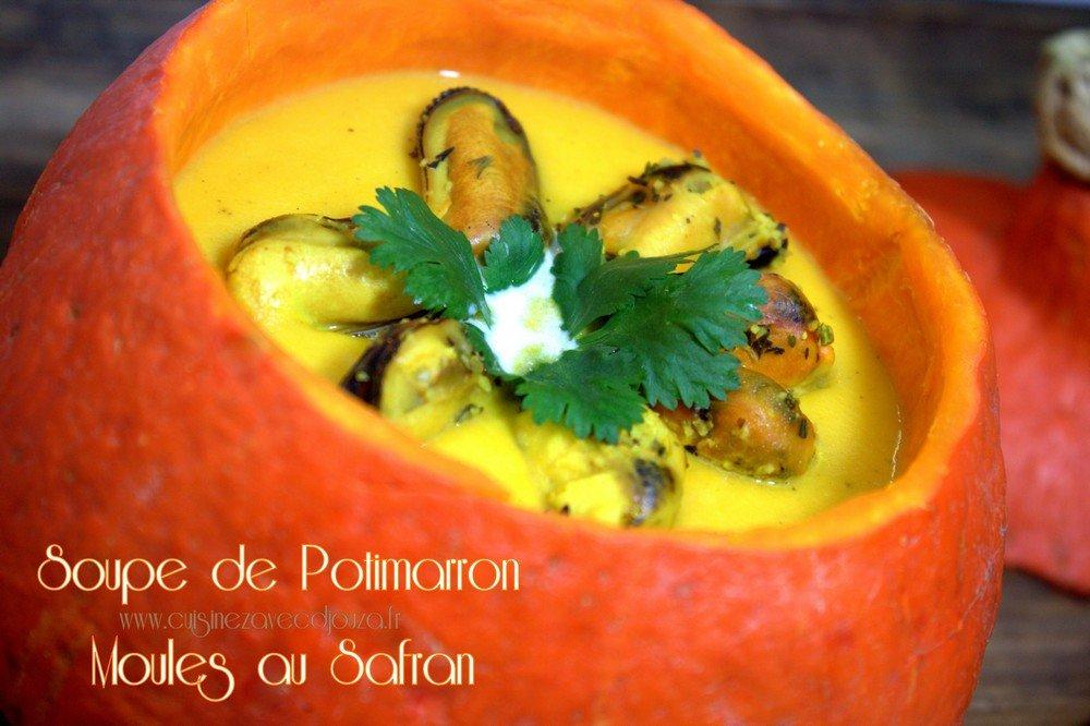 Soupe de potimarron avec moules au safran