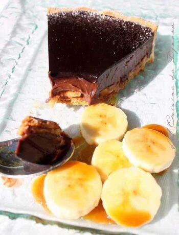 Tarte au chocolat bananes et caramel
