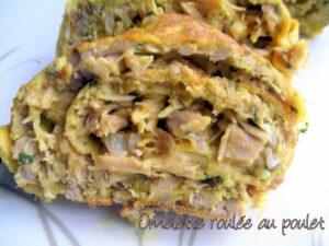 Omelette roulée au poulet