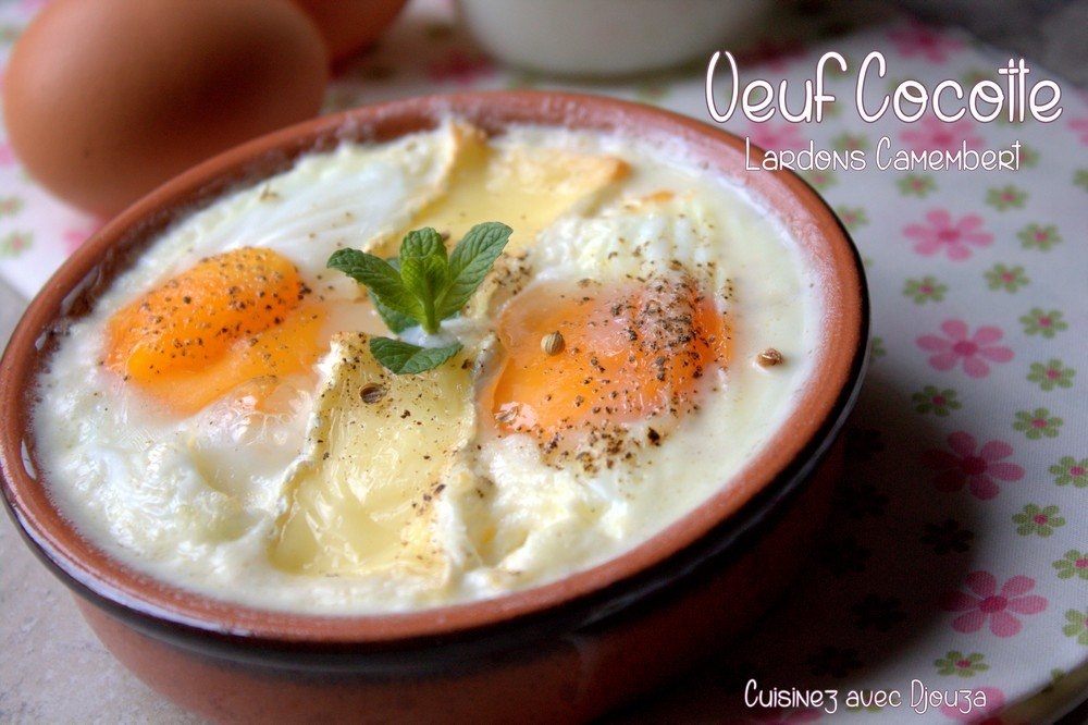 oeuf cocotte lardons camembert recettes faciles recettes rapides de djouza. Black Bedroom Furniture Sets. Home Design Ideas