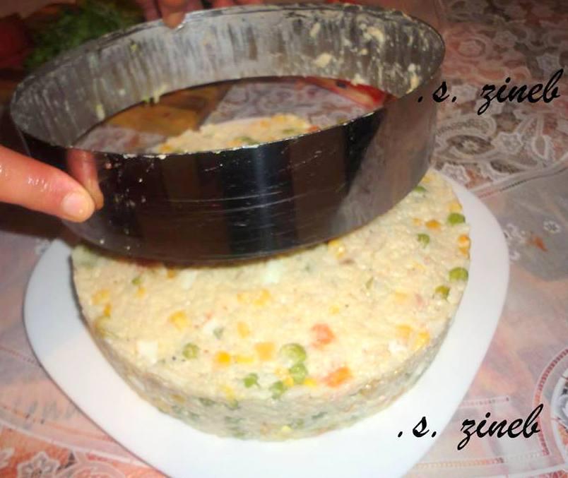 Gateau de riz en salade composée