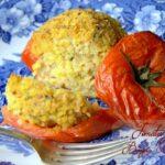 Tomates farcies au boulgour thon épices et coriandre