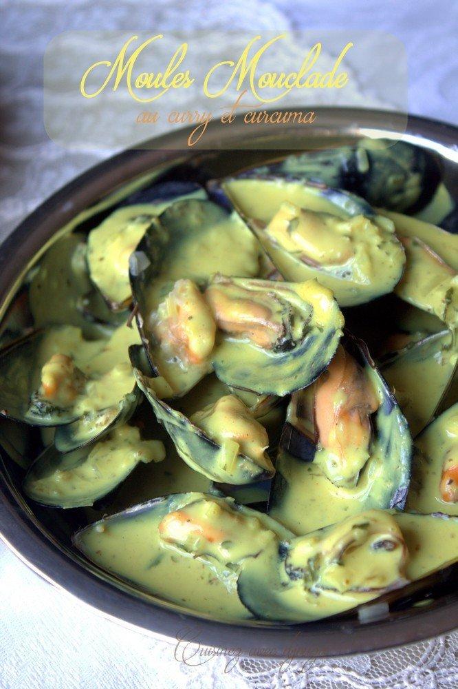 Moules mouclade au curry et curcuma sans vin