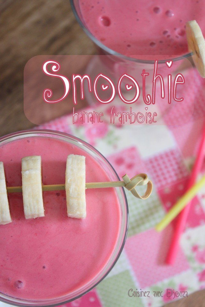 Smoothie cocktail banane framboise sucre vergeoise
