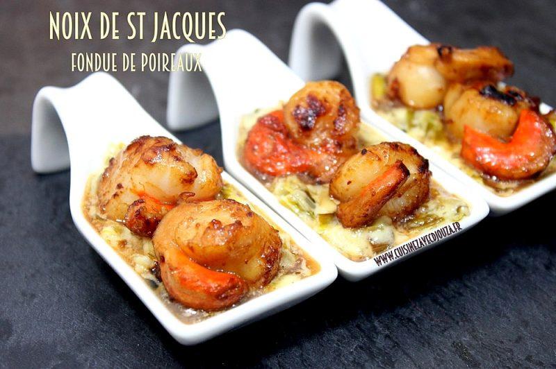 noix de saint jacques fondue de poireaux recettes faciles recettes rapides de djouza. Black Bedroom Furniture Sets. Home Design Ideas