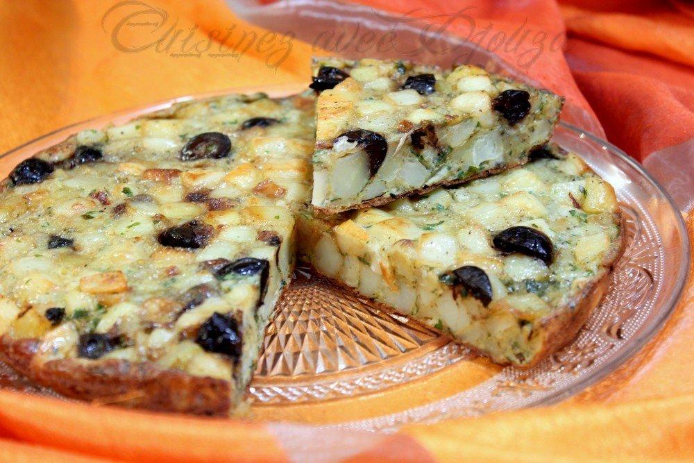 Tortilla galette de pommes de terre et olives