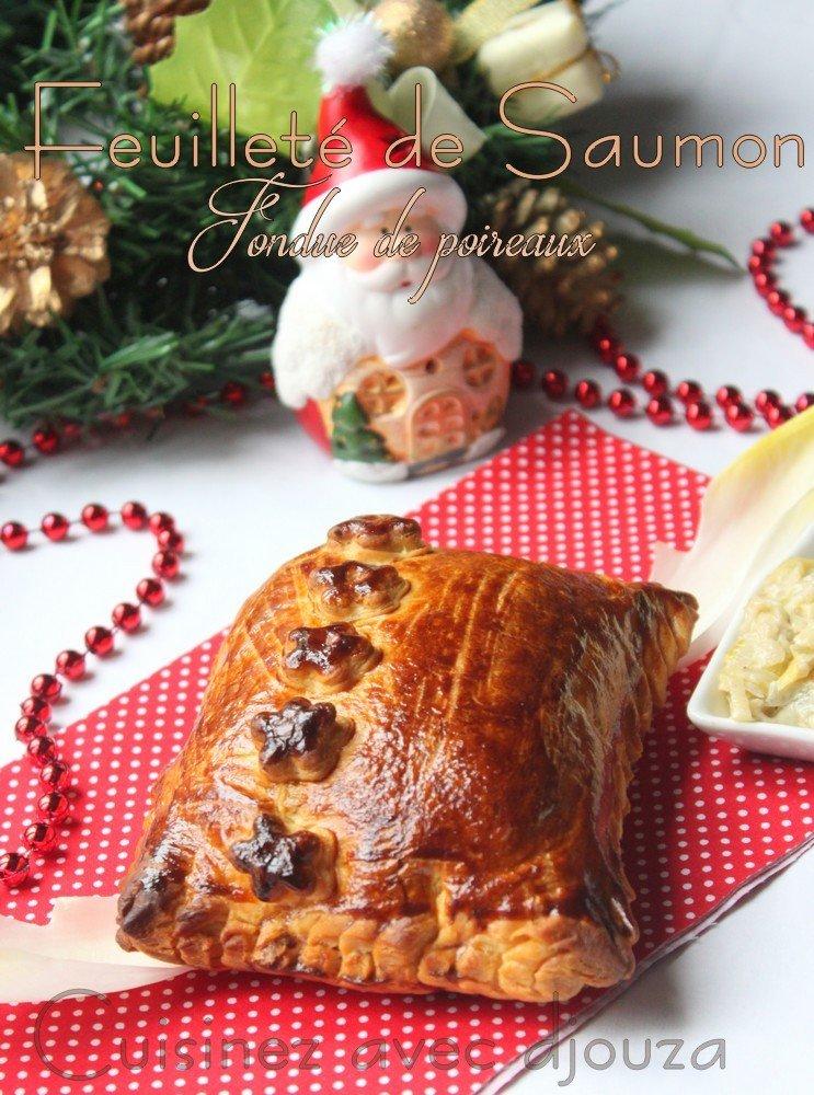 Feuilleté de saumon frais et fondue de poireaux