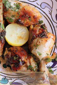 Pilons de poulet au four en marinade ail citron et coriandre