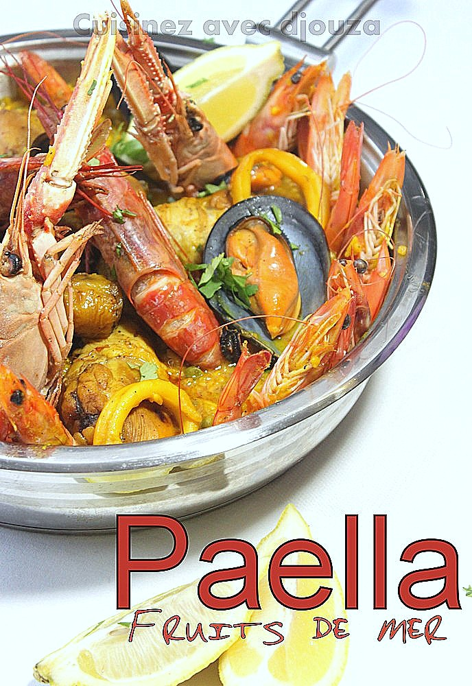 paella au poulet et fruits de mer facile recettes faciles recettes rapides de djouza. Black Bedroom Furniture Sets. Home Design Ideas