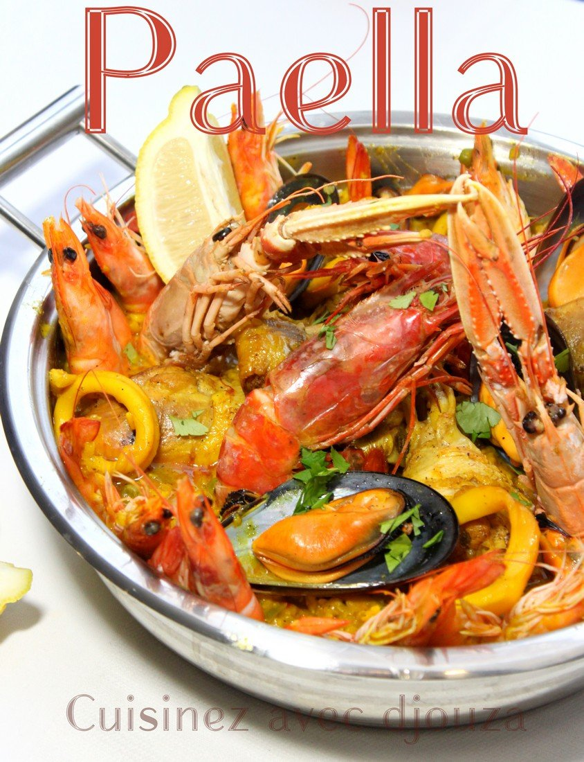 recette paella facile au poulet et fruits de mer la cuisine de djouza. Black Bedroom Furniture Sets. Home Design Ideas