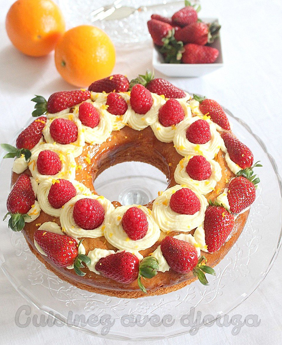 Gateau fraise et orange