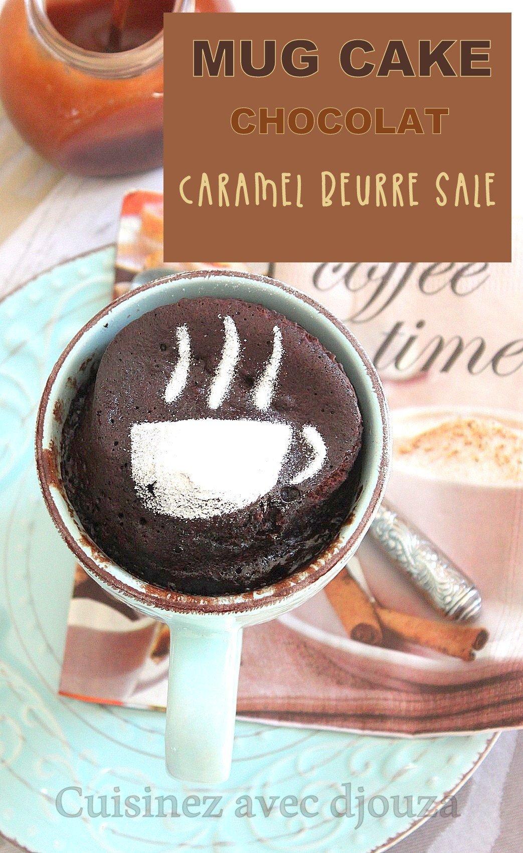Recette mug cake au chocolat et caramel beurre salé, le gateau minute