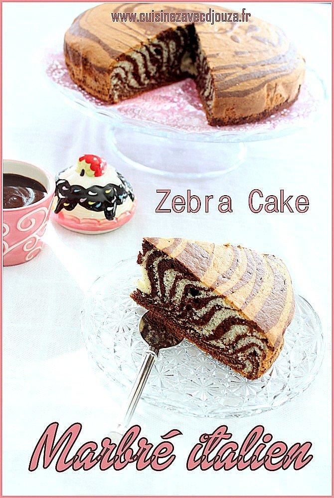 gateau marbré italien, zebra cake