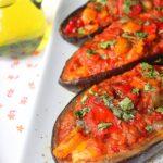 Recette aubergines farcies aux poivrons