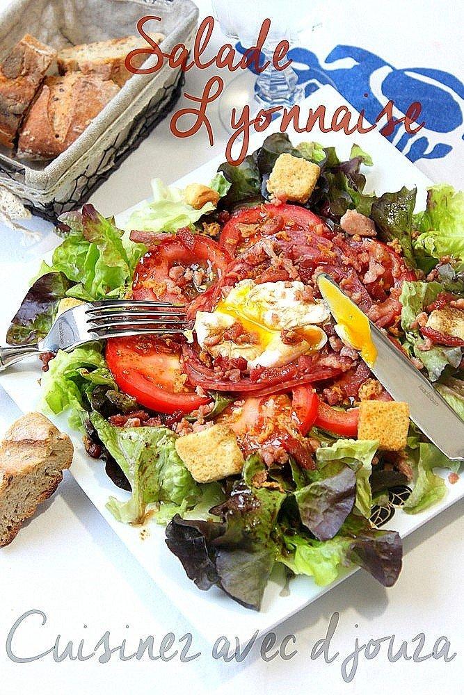 salade lyonnaise a l 39 oeuf poch et lardons recettes faciles recettes rapides de djouza. Black Bedroom Furniture Sets. Home Design Ideas