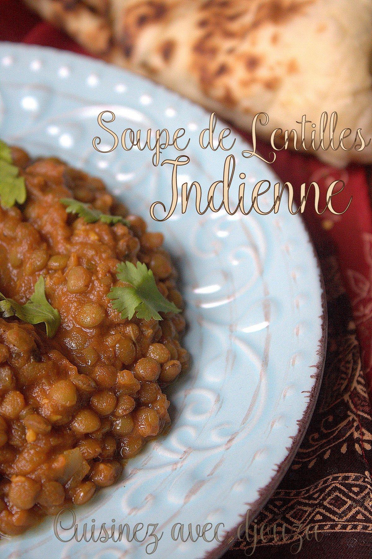 Soupe de lentilles à l'indienne