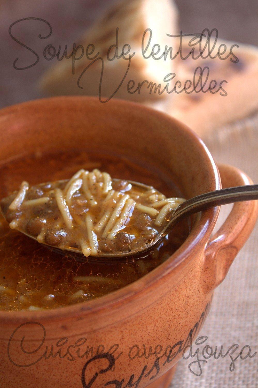 Soupe de lentilles et vermicelles sans viande