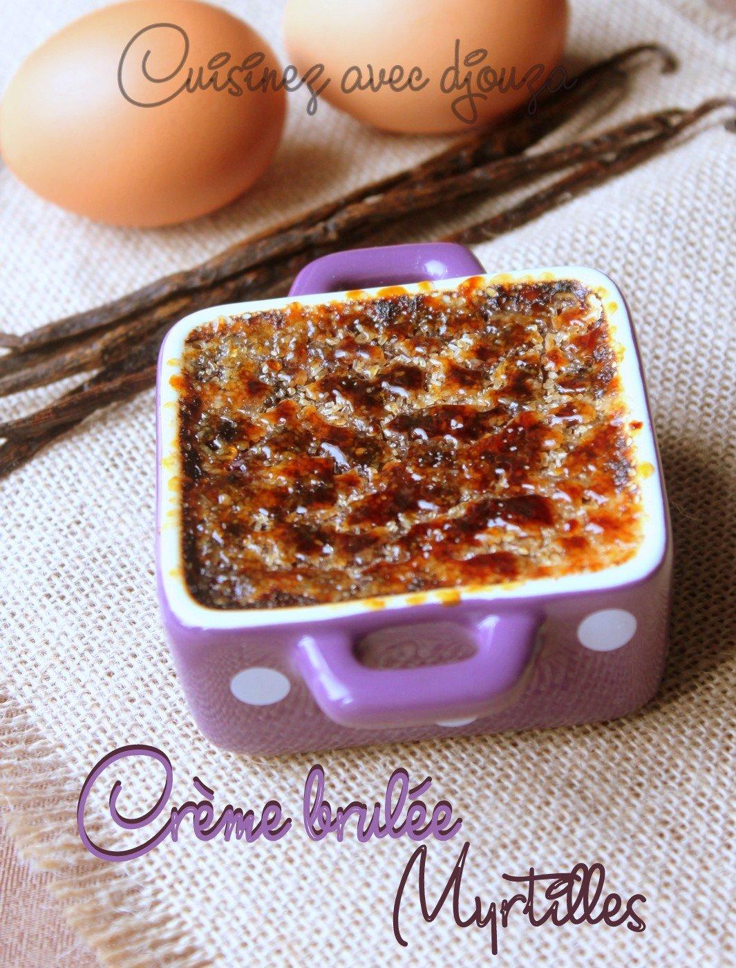 Crème brulée maison aux myrtilles