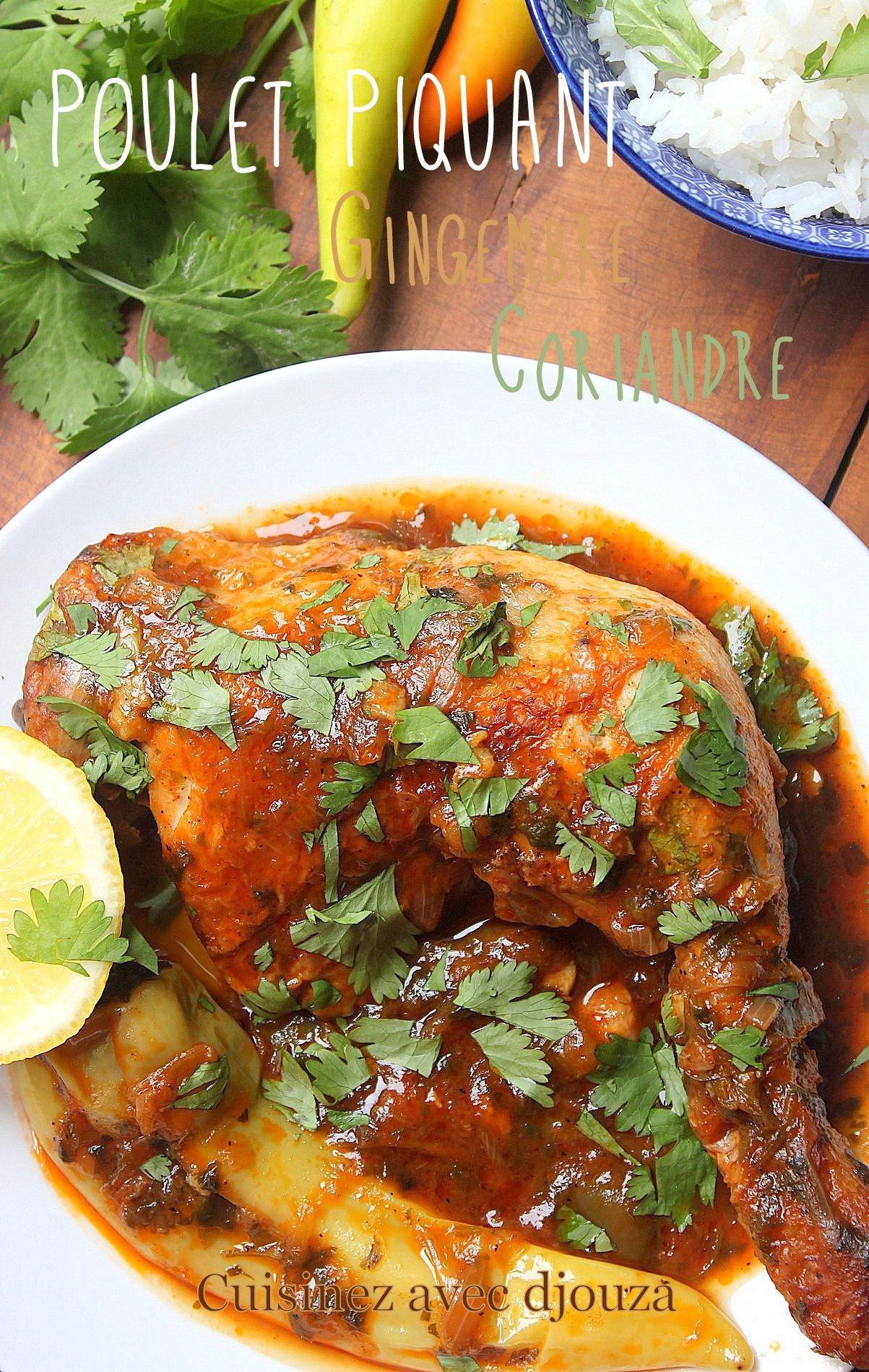 poulet en sauce au gingembre et coriandre