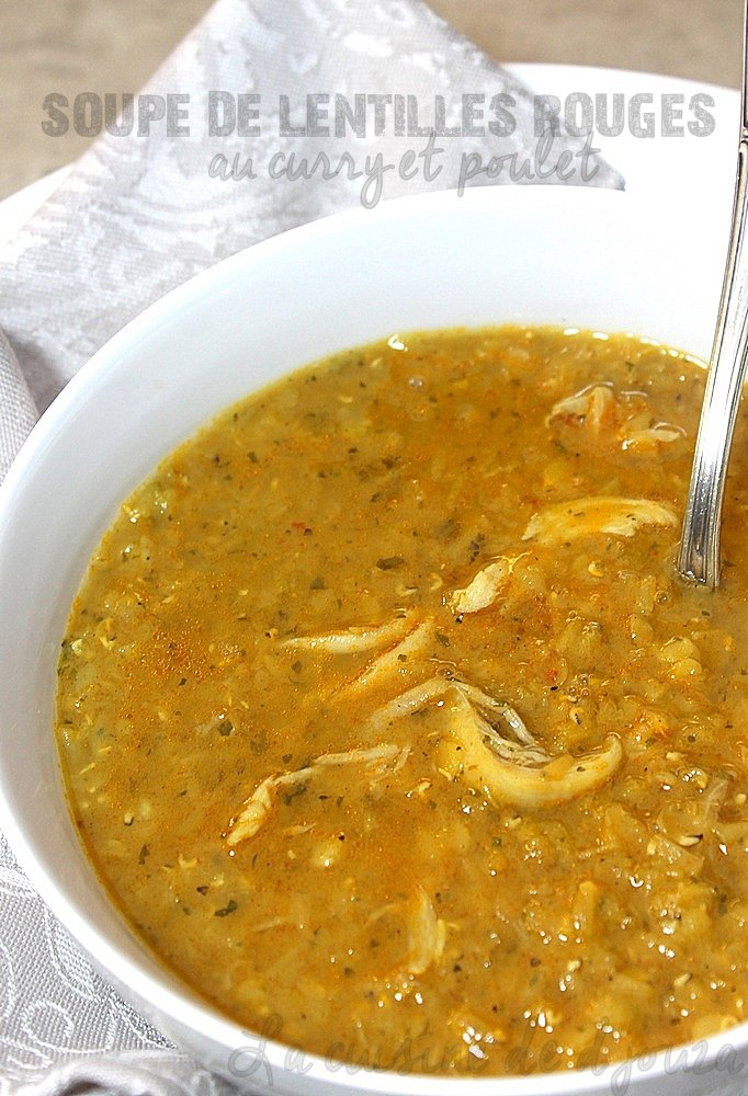 shourba de lentille au curry et poulet